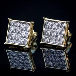 Mens Gold Plated Iced Hip Hop Square Stud Earrings
